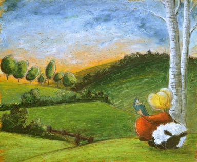 Reading by the tree - SOLD